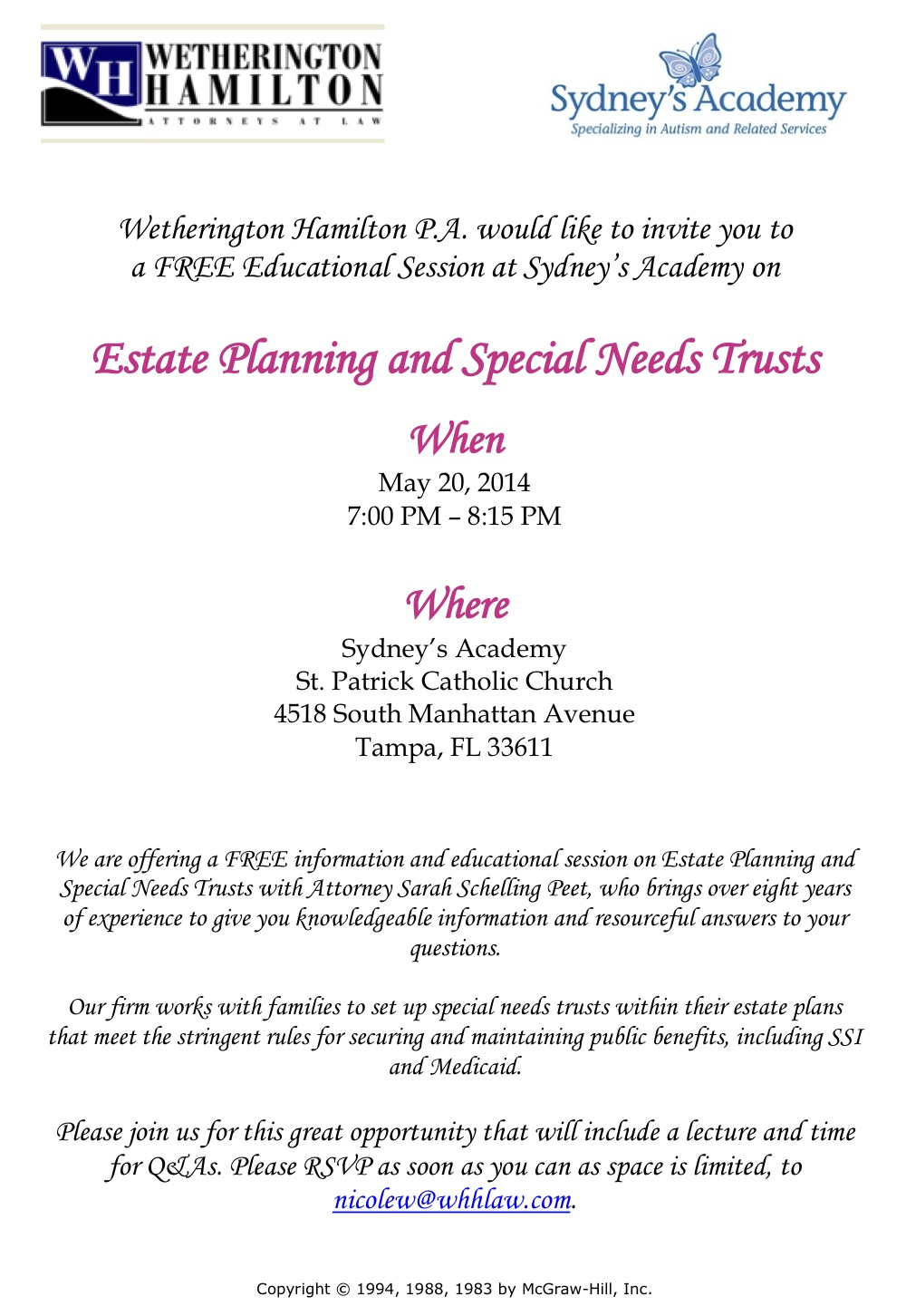 Estate Planning For Special Needs >> Working Women Of Tampa Bay Free Seminar On Estate Planning